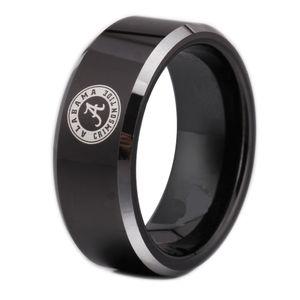 Spedizione gratuita Customs Incisione Anello Vendite Calde 8 MM Nero Con Bordi Lucenti Alabama Design Tungsten Wedding Ring q170717