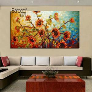 Girassol Canvas Pintura Mão Pure Modern flores pintadas pintura a óleo Wall Art Decoração Início Sala presente