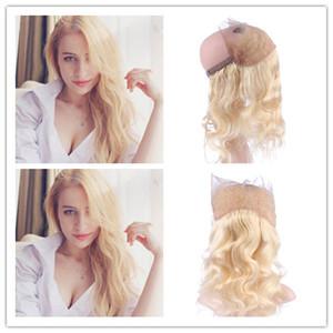 # 613 Blonde 360 Band Lace Frontal Virgen Peruano cabello humano Body Wave Bleach Blonde 360 Lace Band cierre 13x4x2 con pelo de bebé