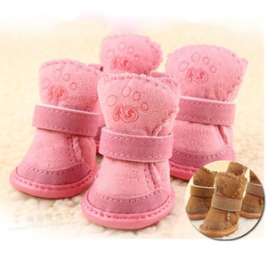 Pet supplies lovely dog shoes lamp cashmere anti slip dog snow boots small dog winter warm shoes wholesale free shipping