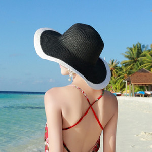 Womens Fashion Straw Sunhat Noir Blanc Pliable Floppy Derby Chapeau Large Large Bord Voyage Plage Cap