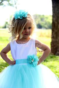 2018 단순한 Tulle Flower Girls 어린 소녀 미인 대회 드레스 Tulle Neck Beaded Crystals 코르셋 뒤로 Flower Girls Birthday Princess Dresses