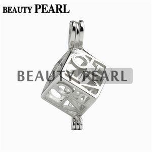 5 Unidades Love Heart Box Locket Jaula Colgante de Perla Montajes Wish Pearl 925 Colgante de Regalo de Plata de ley