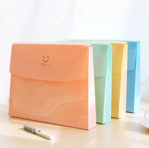 اللوازم المكتبية والقرطاسية الكورية لطيف لون الحلوى ابتسامة الوجه A4 PVC ملف مجلدات وثيقة حقيبة الملفات حقيبة منظم تخزين حقيبة