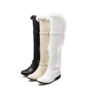 Sexy Black White Bridal Wedding Boots Over The Knee Fur Boots Women Plus Size 34 to 40 41 42 43 44