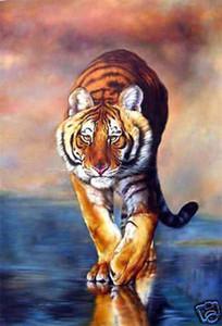 TIGER, genuina pura pittura a olio dipinta a mano Animal Art On qualità spessa tela di alta nel tiann Multi Size