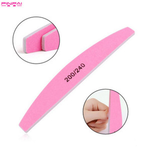J1 D050 Pro Nail Files Manicure Sanding Buffer Washable Pink Half-round Double-Side Emery Board 200 240 Grit Nail Buffering Tools