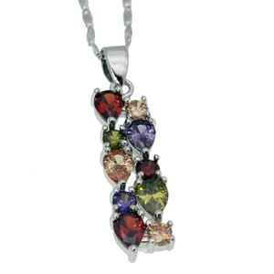 "Frauen Schmuck Sterling Silber Anhänger Halskette Edelstein Morganite Granat Amethyst Peridot Dazzling Prom Modeschmuck Kette 18 ""Zoll"