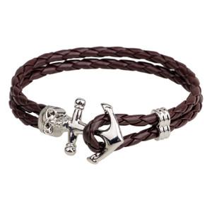 Europa und die Vereinigten Staaten schmuck original design retro schmuck Navy wind schädel armband anker armband leder gewebtes armband