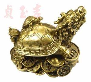 Trabajo a mano chino de bronce Fengshui Dragon Turtle Statue