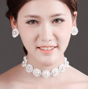 Чистый белый кружева ожерелье колье Earclip набор для невесты свадебные украшения кружева цветок жемчужные серьги ожерелья женщин партии аксессуары