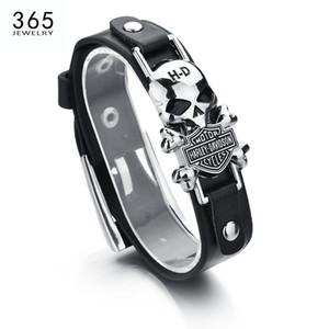 Оптово Новый дизайн Hip стиль Мужчины ювелирные изделия сплава цинка Кожаный браслет Ghost Rider Charm Байкер Браслет для подарка