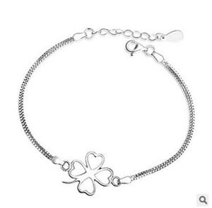 Mode coréenne argent trèfle à quatre feuilles bracelet en argent sterling 925 bracelet femmes accessoires srebrna bransoletka