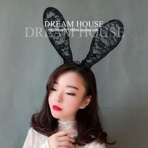 Femme coiffure cheveux Dream ornements mignon rétro sexy prop Black Lace oreilles de lapin Bandeau Tiara
