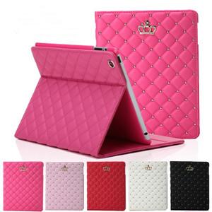 caso de la tableta plegable de lujo de la corona del Rhinestone cuero de la PU para el iPad 2 3 4 5 6 Mini iPad 4 con el soporte de la cubierta a prueba de golpes latencia