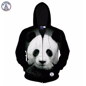 Hip Hop Sonbahar kış ceket erkekler için / kadınlar hoody 3d baskılı büyük hayvan panda kapşonlu hoodies 3d tişörtü tops