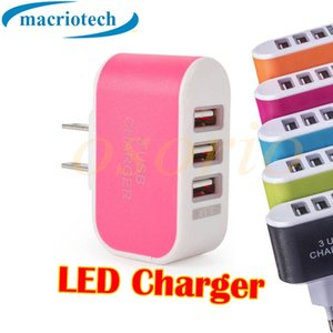 5V 3.1A Triple USB Port Wall Home Travel AC Charger US EU Plug Convenient 3 USB LED Adapter For Mobile Phone Tablets