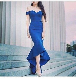 Saudi Arabia Evening Gowns Abendkleider Sexy 2019 Mermaid Evening Dress Off the Shoulder High Low Elegant Cheap Prom Party Evening Gown