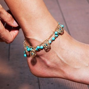 Bohemian Blue Beads Sexy Foot chain Anklets for Women Gold color Chain Barefoot Sandals Foot Jewelry Love Rose Flower Beach Ankle Bracelets