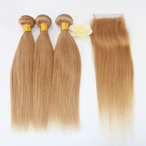 Straight Weave 7A Brazilian Virgin Hair 3 Bundles with Lace Closure Free Part Mixed Size Length Perfect for 27# Color Hair Weft