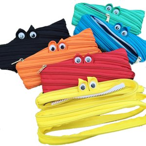 Wholesale- Hot Sale Monster Eyes School Pencil Bag Pencil Pouch Zipper Portable Cosmetic Bags Office Stationery Canvas Pencil Case 45
