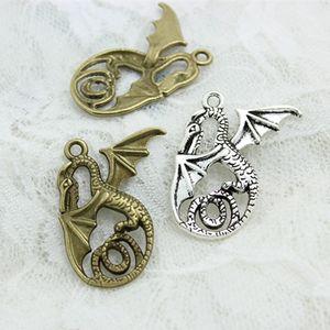 Doce sino min ordem 20 pcs 28 * 37mm duas cores liga de metal dragão jóias pingente encantos charme animal d0561