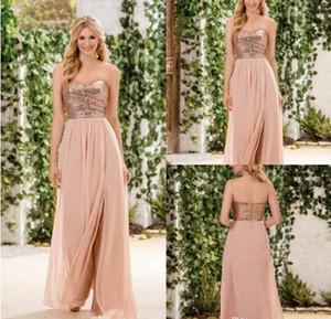 2017 Jasmine Rose Gold Sequindes Bridesmaid Dresses 사이드 스커트 라인 시폰 스커트 Sweetheart Maid of Honor Gowns 웨딩 게스트 파티 드레스