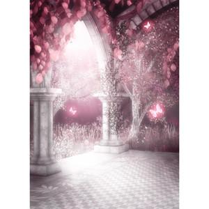 5x7ft Fantezi Masal Kelebek Ağaçları Yenidoğan Çocuk Fotoğraf Arka Planında Sparkle Kale Düğün Zemin Fotoğraf Stüdyosu Arka