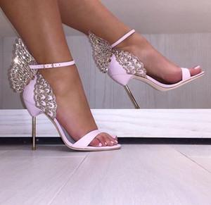 최신 클래식 나비 천사 날개 파티 드레스 샌들 스팽글 섹시한 하이힐 신발 금속 얇은 힐 펌프스 신발