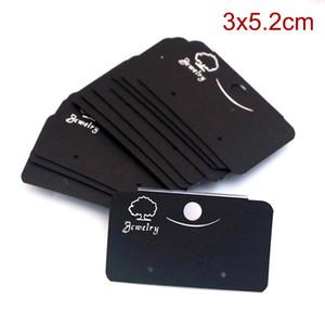 الجملة مجوهرات بطاقة 200 قطعة / الوحدة 3 * 5.2 سنتيمتر الأسود البلاستيك pvc مربط القرط بطاقة مخصصة شعار مجوهرات عرض التغليف بطاقة العلامات