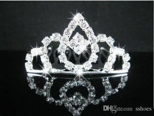 Kids Crystal Crown Headdress Hair Sticks Hair Comb Tiaras Girls Children's cartoon comb Crystal Wedding Crown Bridal hairpin