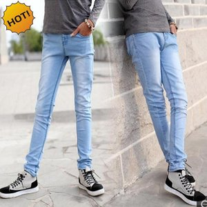 Hot Style 2017 Fashion Casual Boys Light Blue Slim Fit Bottoms Pencil Pants Solid Casual Crossfit Micro Stretch Jeans Men 28-34