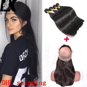Pre Gezupft 360 Spitze Frontal Verschluss mit Bundles 4pcs 200g Malaysisches Reines Haar mit 360 Spitze Frontal Malaysian Glattes Haar