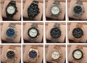 2017 Tüm Subdials Çalışmak AAA Mens Saatler Paslanmaz Çelik Kuvars Saatı Kronometre Lüks İzle Üst Marka erkekler relojes için En Iyi Hediye