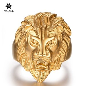 Wholesale MOZEL 316L Stainless Steel DaviesLee Retro Men's Stainless Steel Vintage African Lion King Face Lion Head Ring for Men