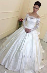 Newest Long Sleeve Satin A Line Wedding Dresses Appliques Beaded Bridal Dresses Vestidos De Noiva Bridal Wedding Gowns Robe De Mariage