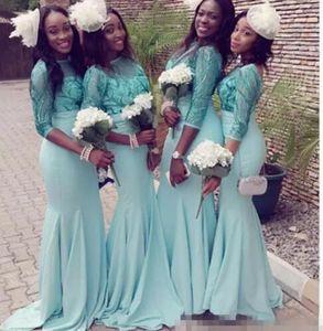 Vestidos turchese maniche lunghe abito da damigella d'onore 2021 primavera scintillante paillettes sirena cameriera dell'abito d'onore Nigeria Arabica sera da sera