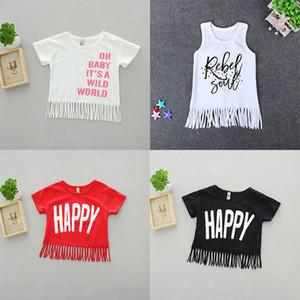 """Kızlar Püsküller ile Gevşek O-Boyun T-Shirt """"OH BEBEK YABAN DÜNYASINDA"""" Baskılı Mektuplar% 100% Pamuklu 12 M-5 T"""