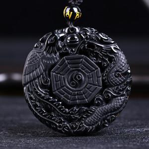 Drop Shipping Siyah Obsidian Oyma Ejderha ve Anka Kolye Kolye Obsidiyen Şanslı Kolye