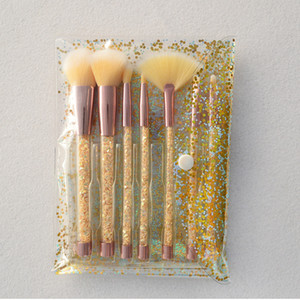 7pcs Crystal Diamond Maquillage Brosses Set Paillettes Poignée Maquillage Brosse Kit avec Sac Cosmétiques Brosses Poudre Fard À Paupières Fondation Maquillage brosse
