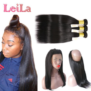 360 Lace Frontal With Bundles Straight Hair Brazilian Virgin Hair Lace Frontal Straight Hair With 3 Bundles Lace Band Pre Plucked