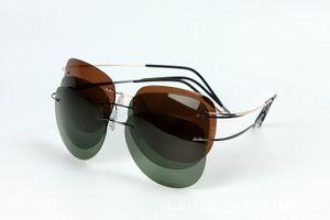 Marque Designer Ultra-léger Lunettes de soleil sans monture Titanium Rimless sans cadre polarisées hommes femmes lunettes de soleil