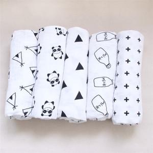 El más nuevo 2016 Baby Cotton Muslin Swaddle Wrap 17 estilos con caja de dibujos animados panda zorro impresión manta recién nacido Swaddle Toalla 120x120cm