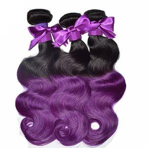 Ombre Color Hair Human 1B Purple Hair Bundles Dos Tonos Brasileño Peruano Indio Malasio Sin Procesar Body Wave Hair Bundles