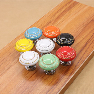 Vintage Furniture Handle Kitchen Pull Handle Ceramic Door Round Knobs Cabinet Knobs and Handles for Furniture Drawer Cupboard