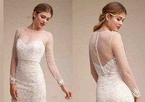 Sheer Wedding Capes Simples xale para Sweetheart Vestidos de Noiva elegante manga comprida jaquetas de renda branca acessórios de casamento applique