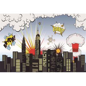 Cartoon Superhero Backdrops Photographie Bâtiments de la ville Big Bang Imprimé Enfants Enfants Photo Studio Background Boy Backdrop