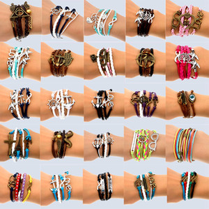Hand Made 30 Mix Style Infinity leather alloy fashion cuff Bracelet Charm Bracelet Vintage Accessories Lover Gifts