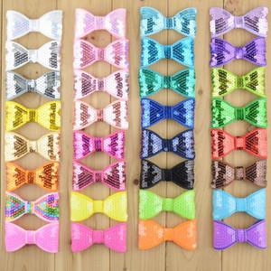 32 unids / lote 32C 8 CM Kids Boutique bowknots sin clip de lentejuelas Arcos para niñas diy diademas accesorios para el cabello HDJ26