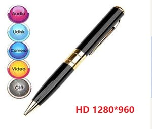 1280 * 960 30fps HD de punto de pluma cámara de vídeo grabadora digital de la pluma de bola mini videocámara de la pluma DVR Mini cámara de plata / oro negro 100pcs